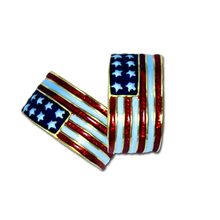 American Flag red, white and blue hoop earrings. Enamel and gold-plate. (Pierced Only).