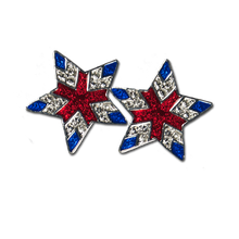 Elegant Star with Red and Blue Enamel and Diamond-like Swarovski Crystals. Pierced Only.