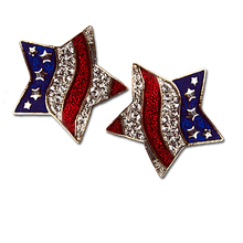 Red White and Blue Patriotic Star Earrings. Pierced only
