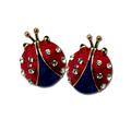 """Red and Blue Enamel and Diamond-like Swarovski Crystals. Approx .75"""". Pierced only."""