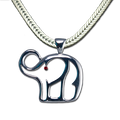 Election season is coming! gold-plate or silver-plate neckslide/pendant in the shape of an elephant (chain not included). The elephant eye is a red Swarovski crystal.