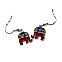 Red, White and Blue Crystals with White Enamel Stars elephant earrings in the Republican logo colors. (Euro wire).