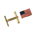 Patriotic Cuff Links, gold plate with enamel American Flag
