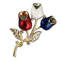 """Two tone red, white and blue enamel rosebud brooch/pin. Includes an elegant touch of crystal. Approx. 2""""."""