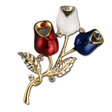 "Two tone red, white and blue enamel rosebud brooch/pin. Includes an elegant touch of crystal. Approx. 2""."