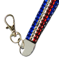 "This patriotic crystal lanyard is sure to be a bestseller. These are great for badge holder and credentials. 15"" folded. Includes lobster claw closure."