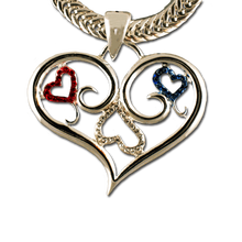 "This patriotic heart neckslide includes a unique scroll design with red, white and blue crystals. Gold or silver plate, 2""Wx1.25""H. Chain not included."