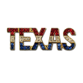 """Crystal TEXAS Pin with lots of Red White and Blue Bling. 1¼""""w x ½""""h. Gold-plate. Pin back with safety catch."""