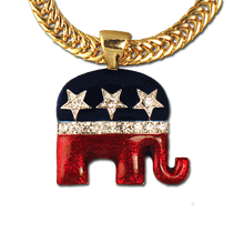 "The Republican logo neckslide in red and blue enamel with diamond-like Swarovski crystals. (Goldplate, 1""H x 1""W). Chain sold separately."