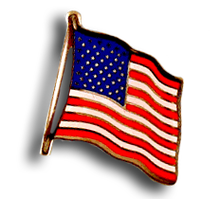 American flag enamel lapel pin.