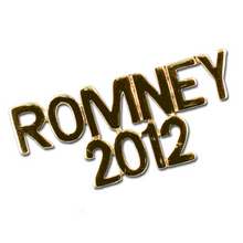 "1"" high ROMNEY 2012 goldplate lapel pin."