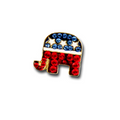 "Red, white and blue crystals with white enamel stars make this Republican logo lapel pin a nice accent on a jacket. Aprrox: 0.50""."