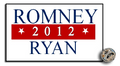 "1"" x 0.5"" enamel Romney Ryan 2012 lapel pin."