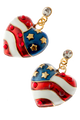 "American flag heart shaped drop earrings in red, white and blue enamel, with gold plate stars and a diamond like crystal at top of drop. Drop approx 1.5"", post back, goldplate, lead free."