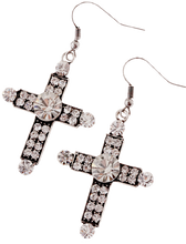"These cross earrings feature double rows of small rhinestones in the shape of the cross with 4 slightly larger crystals on each side and a large crystal in the center. Antique Silver, drop approx 2.5"", fish hook ear wire, lead and nickel free."
