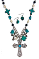 """A very pretty set is this necklace and earrings with variety of crosses in Turquoise/silverplate. Length approx 18"""", Big cross 2.3"""" x 3"""", Lobster claw clasp with 3"""" extender, Lead and nickel compliant."""