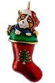 "All the colors of Christmas are in this brooch win enamel with goldplate trim and the added feature of an adorable puppy. Size: 1"" x 2"", pin backing, lead free."
