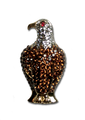 "Beautiful Bald Eagle Pin. Goldplate with smoked topaz crystals set with dark brown enamel, diamond like crystals and a red crystal eye. 1.75"", pin back."