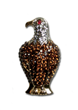 """Beautiful Bald Eagle Pin. Goldplate with smoked topaz crystals set with dark brown enamel, diamond like crystals and a red crystal eye. 1.75"""", pin back."""
