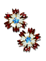 "Patriotic Carnation earrings in red and white enamel with blue Swarovski crystals in the center of the flower. Goldplate, post back, 0.75""H x 0.75""W."