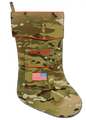 "The Army MultiCam Christmas stocking is the newest addition to the collection. MultiCam is the fabric used by the Army for uniforms warn by Soldiers deployed in Afghanistan. It is not widely recognized stateside by the general public. The stocking is trimmed in scarlet piping with the ""reverse American flag"" embroidered on the stocking pocket. Above the pocket is the embroidered ""U.S. ARMY"" service tape. The price of this stocking is higher due to the higher cost per yard of this fabric."