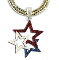 "This beautiful 3 star neckslide includes red and blue crystal stars with a center white enamel star. Silverplate only. Size: approx 1.5""."