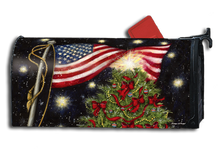 Patriotic Christmas Mailbox Cover with Christmas tree adorned with red ribbons, plus beautiful USA American Flag.