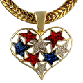 This neckslide features a collage of red, white and blue crystal stars embedded in the shape of a heart. Goldplate finish.