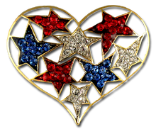 A collage of red, white and blue crystal stars are featured and embedded in the shape of a heart.