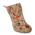 The Marine Christmas stocking is designed to become a special keepsake of Marines, former Marines, family and friends who love the Marine Corps. The Marine Camosock is a holiday gift every Marine would be proud to receive. Permission was granted by the Marine Corps to allow the use of the Eagle, Globe and Anchor emblem embroidered on the pocket. The attention to detail is outstanding.