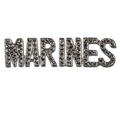 Support the Marines! Diamond like Swarovski crystal, silver-plate brooch/pin.