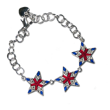 Elegant Star Bracelet with Red and Blue Enamel and Diamond-like Swarovski Crystals.