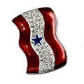 Diamond-like Swarovski crystals with red enamel and a blue star Service Banner brooch/pin.