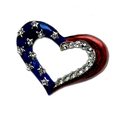 Elegant Heart with Red and Blue Enamel and Diamond-like Swarovski Crystals.