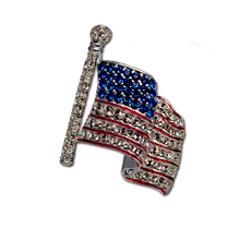 Wear the flag! Silver-plate flag pin with diamond and sapphire like Swarovski crystals.