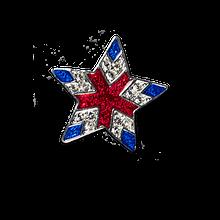 Elegant Star with Red and Blue Enamel and Diamond-like Swarovski Crystals.