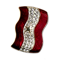 "Diamond-like Swarovski crystals with red enamel and a gold star Service Banner brooch/pin. Size: 1"" x 1.5"""