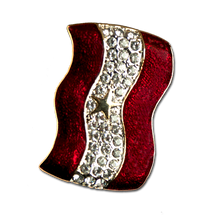 """Diamond-like Swarovski crystals with red enamel and a gold star Service Banner brooch/pin. Size: 1"""" x 1.5"""""""