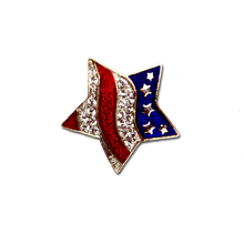 Red White and Blue Patriotic Star Pin - crystal and enamel.