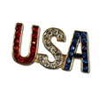 """USA! USA! USA! Red, white and blue crystals in goldplate. Approx 1""""."""