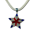 "Elegant star with red and blue enamel and diamond-like Swarovski crystals. Approx. 1.5"". (Chain not included)"