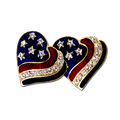 Heart shaped earrings in patriotic red, white and blue enamel with diamond like Swarovski crystals. Gold-plate.