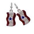 Diamond-like Swarovski crystals with red enamel and a blue star Service Banner earrings. Silver-plate. (Pierced Only)
