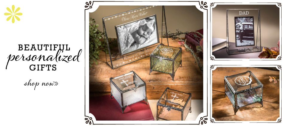 Beautiful personalized gifts available. Etched glass art designs on jewelry boxes and picture frames.