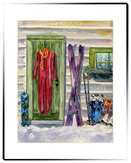 Winter Cabin Matted Print