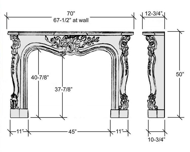 Stone Mantel Specification Diagram