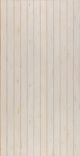 "Hand Scraped Ivory plywood paneling features a 4"" double groove beadboard pattern"