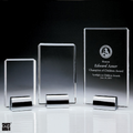Crystal Award Plaque, Chrome plated base