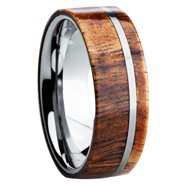 Wood Inlay Mens Wedding Rings Mens Wedding Bands