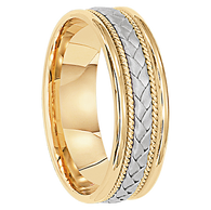 6 mm Unique Mens Wedding Bands in 14kt. Gold - Madrid